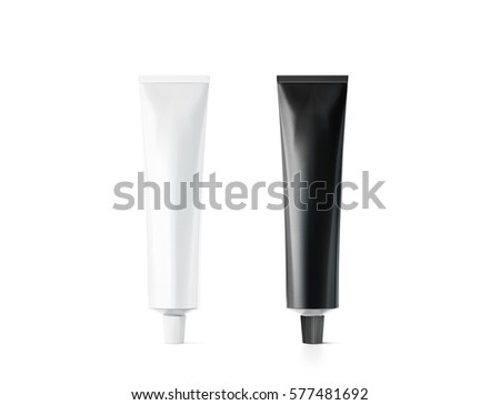Blank black and white tube mockup, 3d rendering. Clear paint or cream pack design mock up. Clean ointment gel bottle template set, stand front view. Empty paste packaging cover. Plastic package
