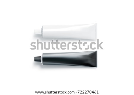 Blank black and white tube mockup lying, 3d rendering. Clear skincare cream pack design mock up. Clean ointment gel bottle template, logo branding presentation. Empty cosmetic plastic packaging cover.