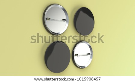 Blank black badge on yellow background. Pin button mockup. 3D rendering illustration #1015908457