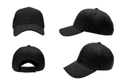 blank black baseball cap,hat 4 view on white background