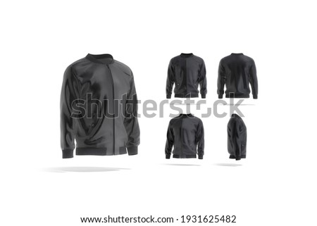 Blank black bomber jacket mock up, different views set, 3d rendering. Empty windproof parka or jacket mockup, isolated. Clear male military outerwear for letterman outfit template. Сток-фото ©