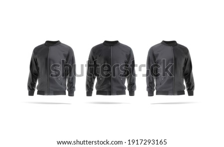 Blank black bomber jacket mockup, front and side view, 3d rendering. Empty windproof sweatshirt with zipper mock up, isolated. Clear fabric wind breaker for spring outfit template. Foto d'archivio ©