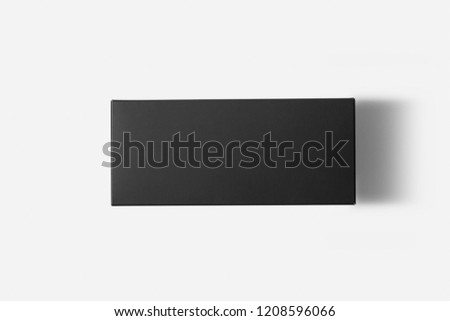 Blank black box Mock-up with shadow isolated on soft gray background.Can be used for your design and branding. #1208596066