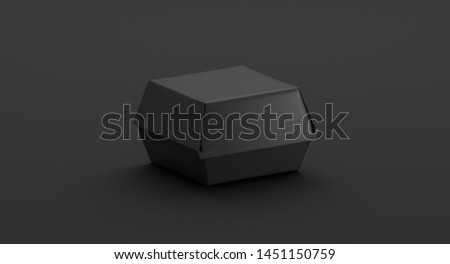 Blank black burger box mockup, side view, 3d rendering. Empty dark fast food takeout wrapping mockup for snack. Clear portable eco-friendly boxed packaging for delivery template.
