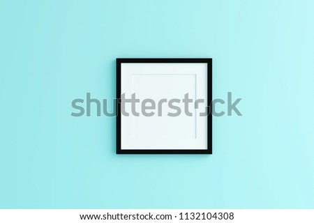 Blank black color picture frame template for place image or text inside on the wall.