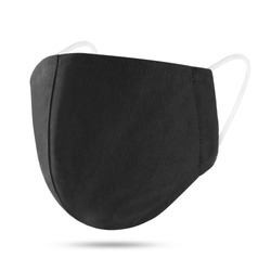 Blank black cotton reusable cloth mask isolated on white background. Front view. Empty surgical mask for mockup. Clear protective face mask for template & branding. Studio Photography