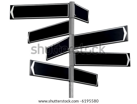 Blank black direction sign with 8 arrows (add your text) isolated on white - stock photo
