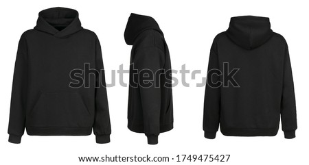 Blank black hoodie template. Hoodie sweatshirt long sleeve with clipping path, hoody for design mockup for print, isolated on white background.