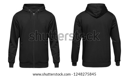 Blank black male hooded sweatshirt long sleeve with clipping path, mens hoody with zipped for your design mockup for print, isolated on white background. Template sport winter clothes. #1248275845