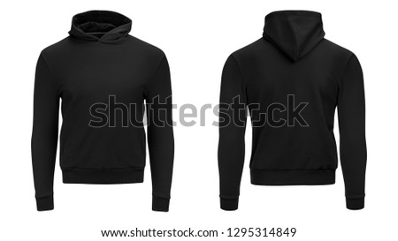 Blank black male hoodie sweatshirt long sleeve with clipping path, mens hoody with hood for your design mockup for print, isolated on white background. Template sport winter clothes. #1295314849