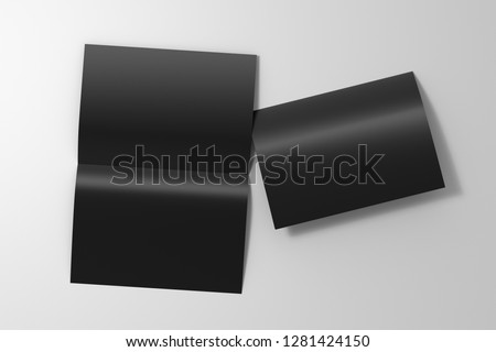 Blank black open and folded half-folded flyer leaflet on white background. With clipping path around brochure. 3d illustration