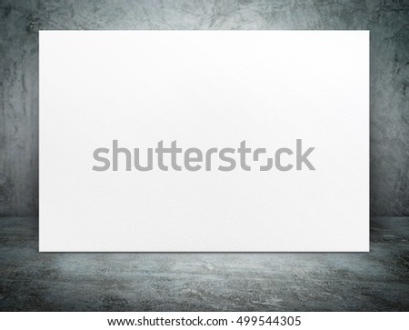 Blank black paper poster canvas at grunge concrete room,Mock up template for adding your content or design,Business presentation #499544305