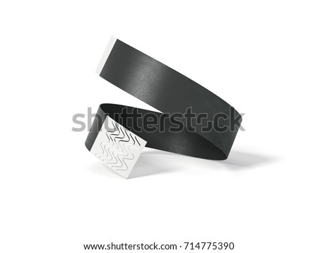 Blank black paper wirstband isolated on white background. 3d rendering Foto stock ©