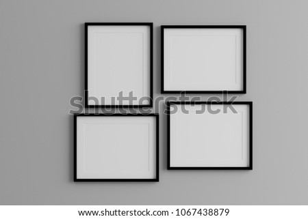 Blank black picture frame template for place image or text inside on the wall.