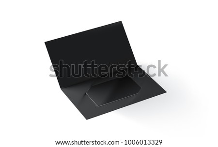 Blank black plastic card mockup inside paper booklet holder isolated, 3d rendering. Clear loyalty program folded brochure with certificate mock up. Customer loyal booklet envelope template.