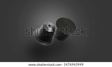 Blank black plastic coffee capsule mockup, isolated on darkness, 3d rendering. Empty vacuum box with cofee mock up, no gravity. Clear latte capsules for breakfast template.