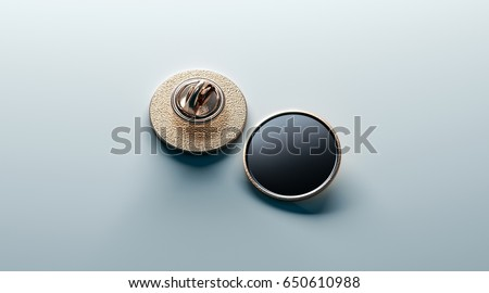 Blank black round gold lapel badge mock up, front and back side view, 3d rendering. Empty luxury hard enamel pin mockup. Golden clasp design template. Expensive curcular brooch for logo presentation ストックフォト ©