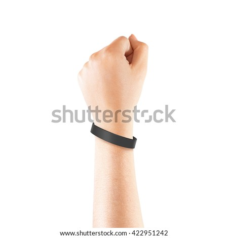Blank black rubber wristband mockup on hand, isolated. Clear sweat band mock up design. Sport sweatband template wear on wrist arm.  Silicone fashion round social bracelet wear on hand. Unity band. Foto stock ©
