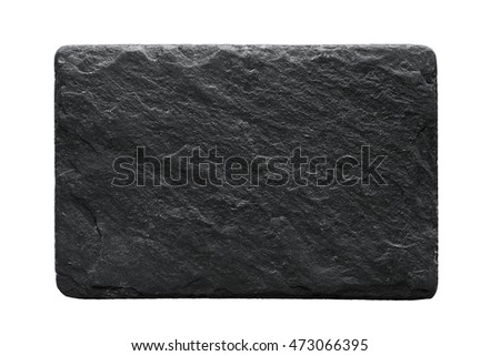 Blank black stone plate isolated on white background with copy space