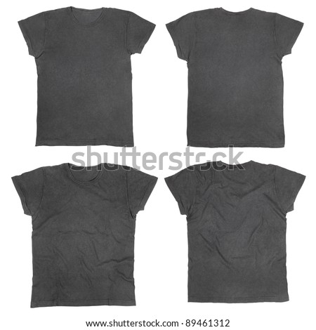 Blank black t-shirts front and back, ironed and wrinkled isolated on white, clipping path included