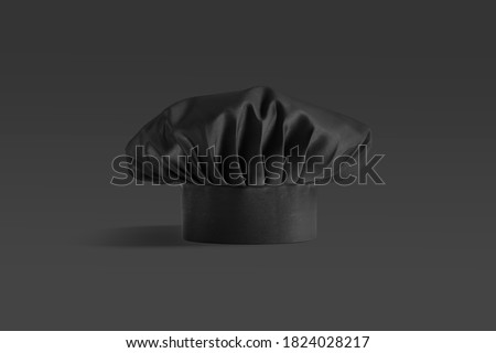 Blank black toque chef hat mockup stand, dark background, 3d rendering. Empty professional cooker headgear mock up, front view. Clear protect dome for culinary master template. Stock photo ©