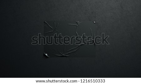 Blank black wheatpaste adhesive horizontal poster mockup on dark textured wall, 3d rendering. Empty wall mounted placard mock up. Clear crumpled canvas for advertising. Street paper display template.
