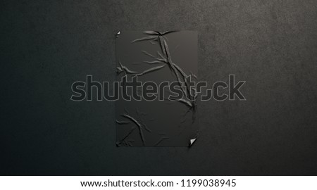Blank black wheatpaste adhesive poster mockup on dark textured wall, 3d rendering. Empty paper sticker placard mock up. Clear street art glued canvas template. Grunge banner for affiche or propaganda.