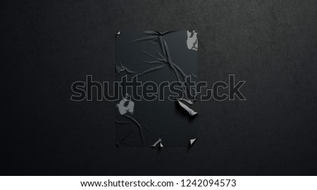 Blank black wheatpaste adhesive torn poster mockup dark textured wall, 3d rendering. Empty old shabby banner mock up. Sticked tattered canvas for ad template.