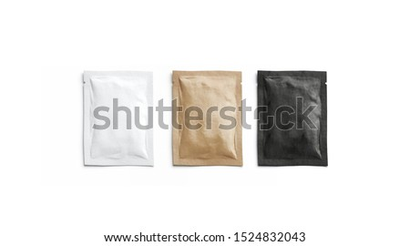 Blank black, white and craft paper sachet packet mockup, isolated, 3d rendering. Empty kraft coffee packaging mock up, top view. Clear sealed wrapper for salt or pepper mokcup template.