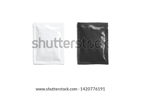 Blank black white sachet packet mockup, isolated, top view, 3d rendering. Empty sealed parcel mock up with salt, pepper, sugar, tea. Clear airtight small bag for medication. Clean pack with food.