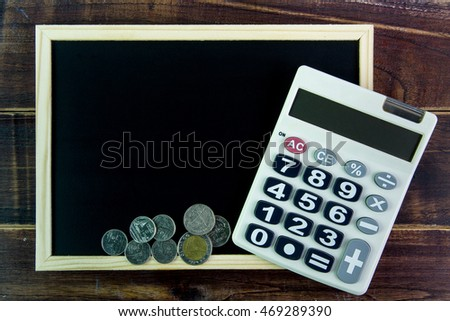 free photos blank blackboard calculator and coin template mock up