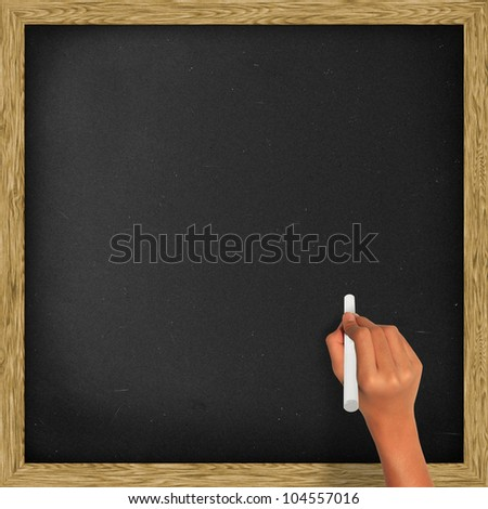 Blank blackboard, chalkboard and hand holding a white chalk, with clipping path