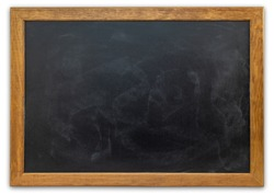 Blank blackboard isolated on white background. Empty chalkboard with good surface texture.