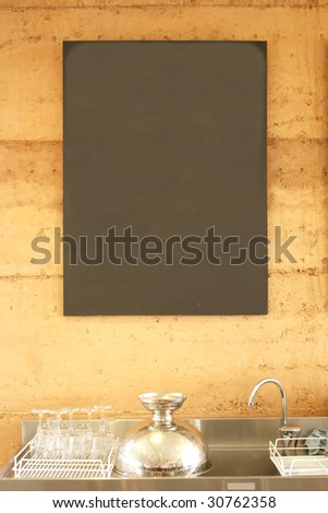 Blank Blackboard Sign Menu in a Restaurant