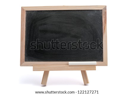 Blank blackboard with a chalk on white background