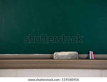 Blank blackboard with chalk and eraser.