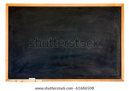 blank blackboard, wooden frame, chalk - empty chalkboard  isolated, clipping path