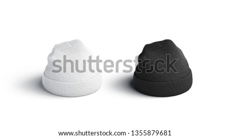 Blank blank and white beanie mockup set, isolated, side view, 3d rendering. Empty fashion headwear mock up. Clear fan headdress template. Winter accessory for protect.