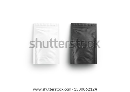 Blank blank and white zipper pouch lying mock up set, isolated, 3d rendering. Empty vacuum sachet poch mockup, top view. Clear spice or cofe sealed doypack mokcup template.