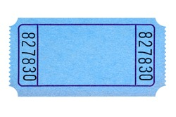 Blank blue movie or raffle ticket isolated on white