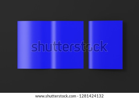 Blank blue open and folded half-folded flyer leaflet on black background. With clipping path around brochure. 3d illustration