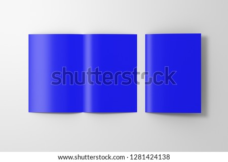 Blank blue open and folded half-folded flyer leaflet on white background. With clipping path around brochure. 3d illustration