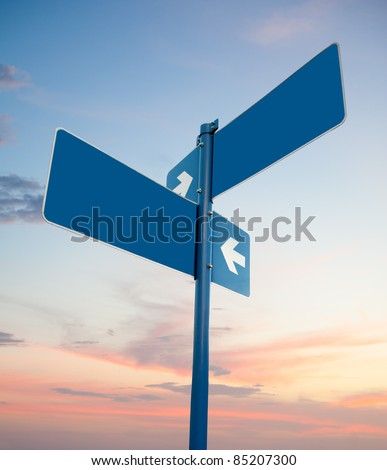 Blank blue road signs in dusk sky, clipping path.