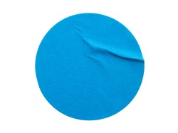 Blank blue round adhesive paper sticker label isolated on white background