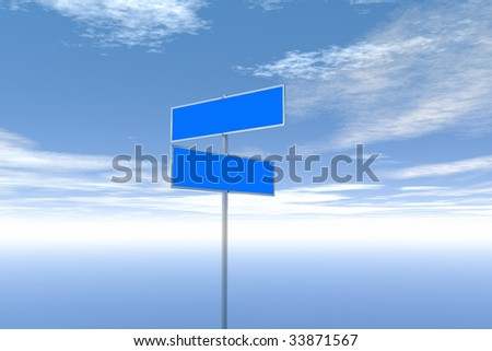 Blank blue signs with sky background