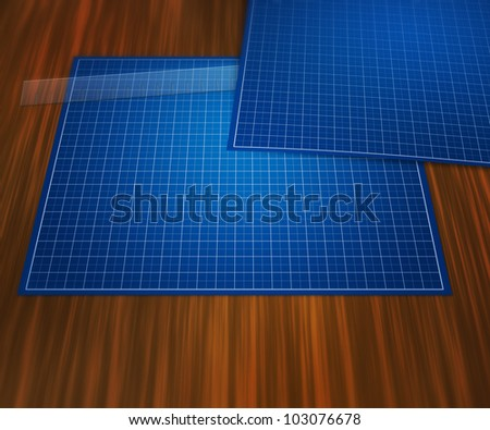 Blank Blueprint on Table Background