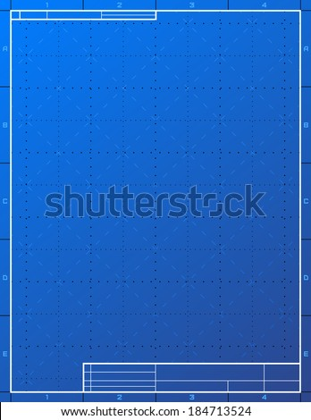 Blank blueprint paper for drafting. Drawing sheet layout with frame and title block. Qualitative background for technical drawing, engineering, design, project, drafting, development process, etc