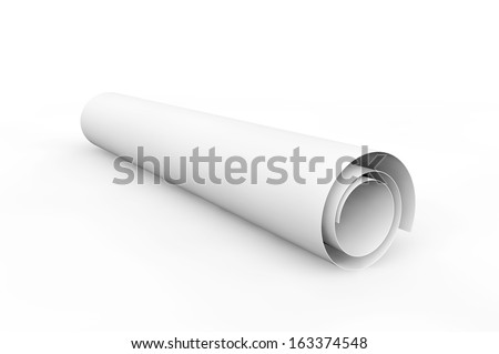 Blank blueprint roll of paper on a white background ストックフォト ©