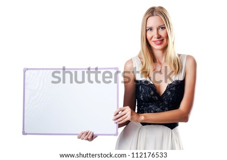 Blank board and attractive woman