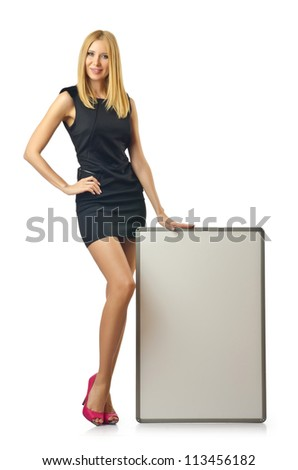 Blank board and attractive woman - stock photo